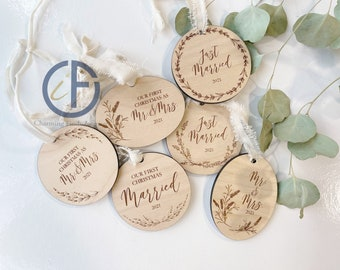 Married Lavender Ornament | Wedding Gift | Married | Wood | Engraved Ornament | Holiday Ornament