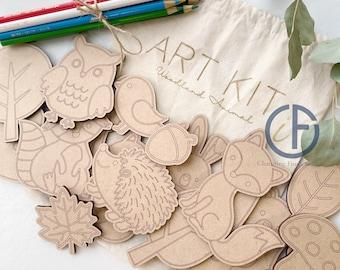 Kids Art Kit | Woodland Animal | Take and Make | Kid Craft | DIY | Kit Coloring | Forest Animals