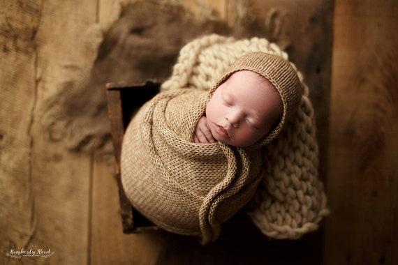 Knit Ties Newborn Bonnet Newborn Wraps For Photography Etsy