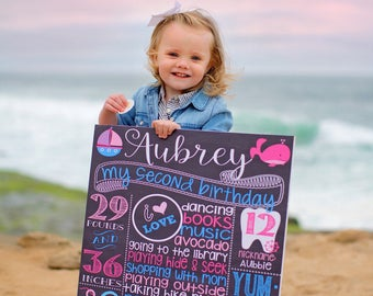 Nautical Birthday Chalkboard Sign - Printable - Birthday Chalkboard Poster -  first birthday - girl - anchors - sailboat - pink - girl