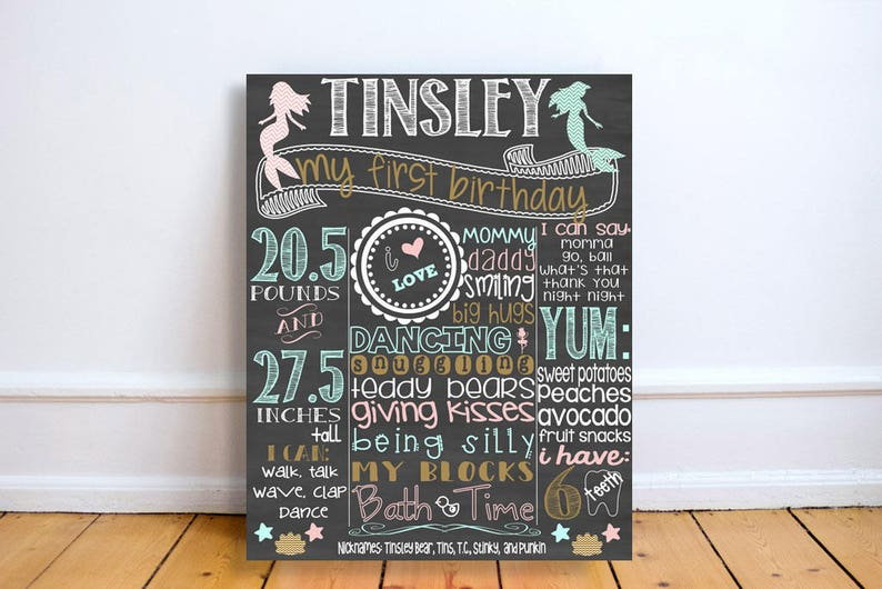 personalized mermaid first birthday stats board custom under image 0