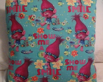 DreamWorks Trolls (Poppy) throw pillow back is solid color