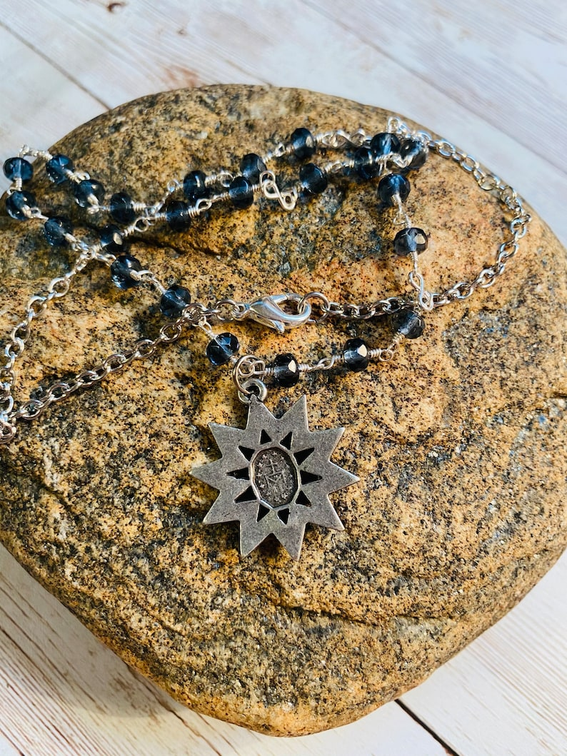 Wire Wrapped Miraculous Star Necklace in Montana Blue