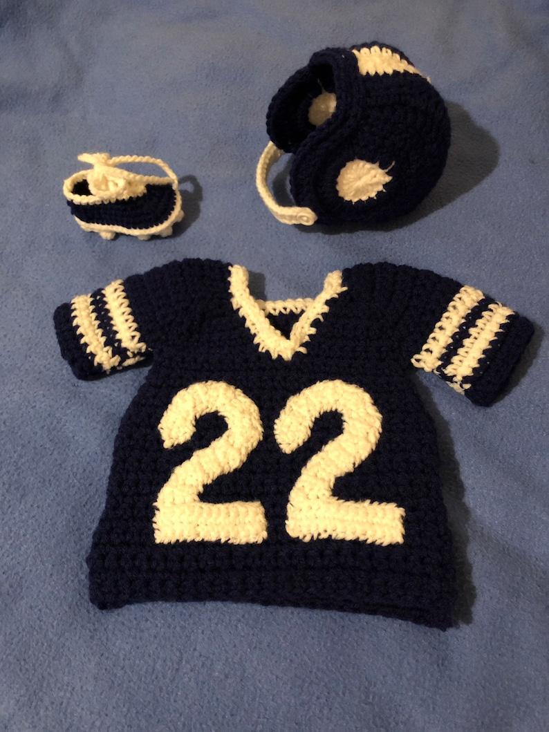 21637955507 Newborn Crochet Baby Helmet Diaper Cover Booties Football