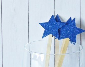 Royal Blue Glitter Star Drink Stir Sticks - Fourth of July Celebration - 4th of July Bar Swizzle Stick - Dessert Bar Decorations - Set of 20