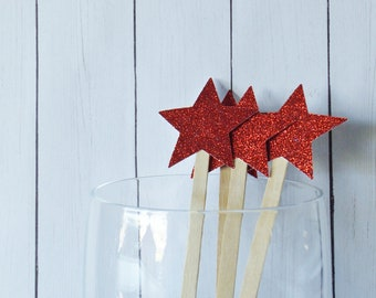 Red Glitter Stars Drink Stir Sticks - Fourth of July Celebration - 4th of July Bar Swizzle Sticks - Dessert Bar Decorations - Set of 20