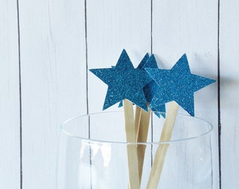 Aqua Blue Glitter Star Drink Stir Sticks - Fourth of July Celebration - 4th of July Bar Swizzle Sticks - Dessert Bar Decorations - Set of 20