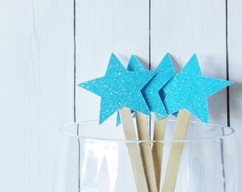 Light Blue Glitter Star Drink Stir Sticks - Fourth of July Celebration - 4th of July Bar Swizzle Stick - Dessert Bar Decorations - Set of 20