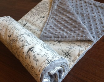 Map blanket etsy 40x60 vintage air traffic baby blanket gray airplane baby blanket vintage atlas baby blanket world map blanket aviation nursery gumiabroncs Images