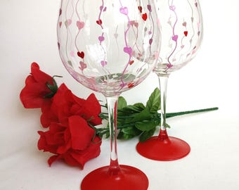 Valentine S Day Wine Glasses Heart Wine Glasses Hand Etsy