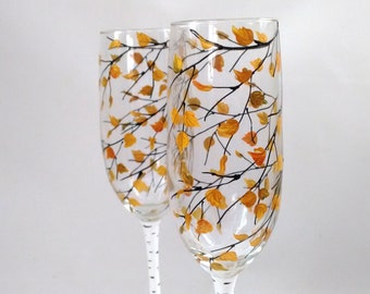 """Bride and Groom Flutes -- FALL WEDDING, Birch Tree Wedding, Rustic Wedding, Toasting Hand Painted Champagne Glasses """"Fall Birch"""" Set of 2"""