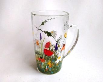 "READY TO SHIP -- Coffee Mug, Hand Painted Coffee Mug, Christmas Gift, Gift Idea, For Her, Gift for Mom, Birthday Gift -- ""Wildflowers"""