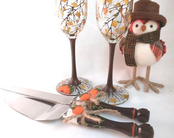Fall/Autumn Wedding Glasses and Cake Knife Set,Fall Wedding Decorations,Bride and Groom Wedding Flutes  Hand Painted and Decorated Set of 4