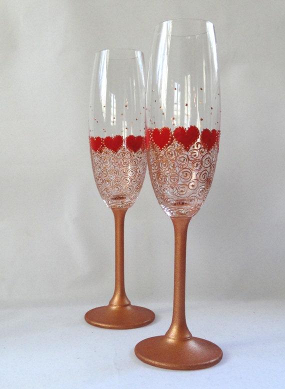 Valentines Day Flutes Wedding Champagne Glasses Etsy