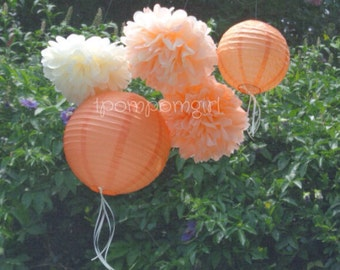 PEACHES & CREAM / 3 Tissue Paper Pom Poms/2 Paper Lanterns // wedding decorations / birthday decorations / bridal shower / paper flowers
