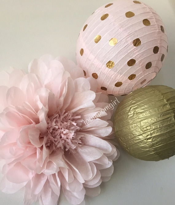 Rose gold 1 giant tissue paper flower 2 paper lanterns etsy rose gold 1 giant tissue paper flower 2 paper lanterns wedding decorations baby shower nursery bridal shower birthday backdrop mightylinksfo