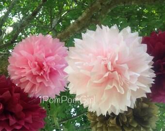 TISSUE PAPER POMS /10 tissue paper pom poms / wedding decorations, baby shower, bridal shower, nursery decor, birthday decor, tea party, diy