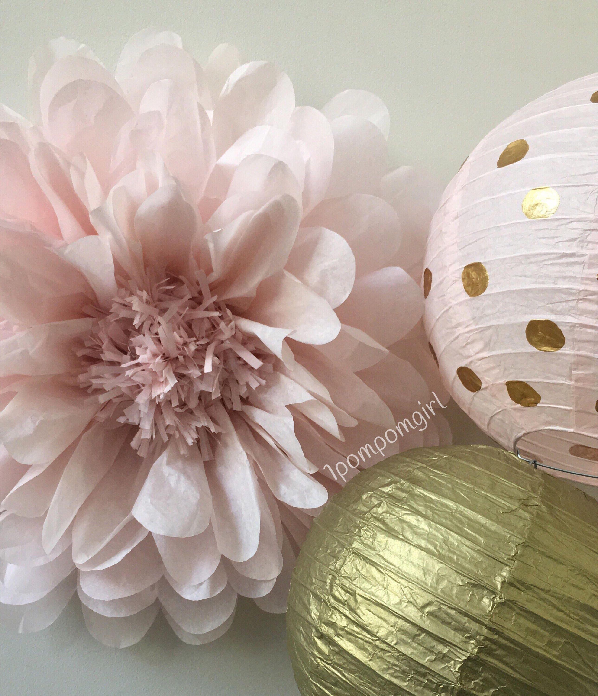 Rose Gold 1 Giant Tissue Paper Flower 2 Paper Lanterns Etsy