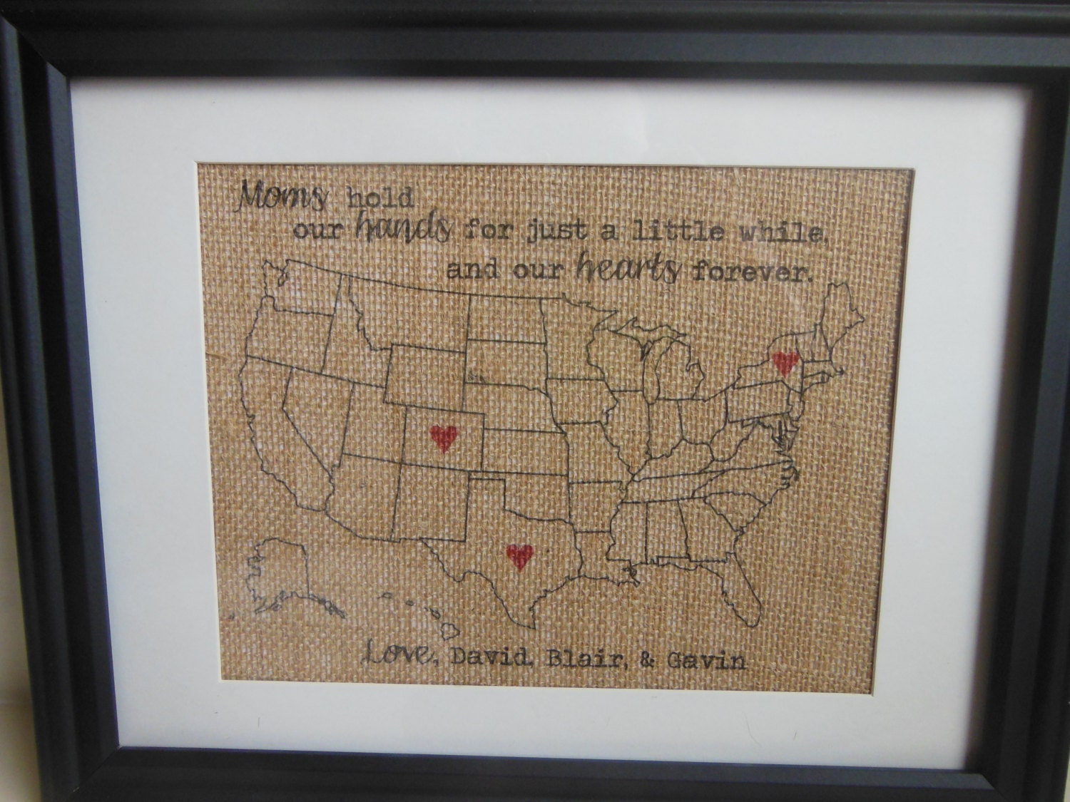 Christmas Gift for Wife or Mom, Burlap Present for Mom - Burlap Print with hearts in locations personalized