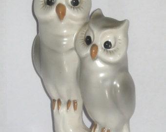 Nippon Japan Owls Bird Animal Figurine Mama and Baby - Gray and White - Eyelashes