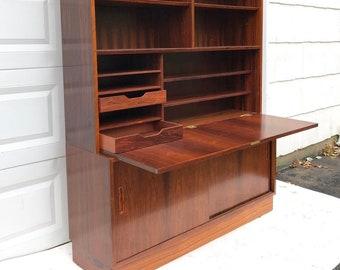Mid-Century Modern Bookcase With Dropfront Desk