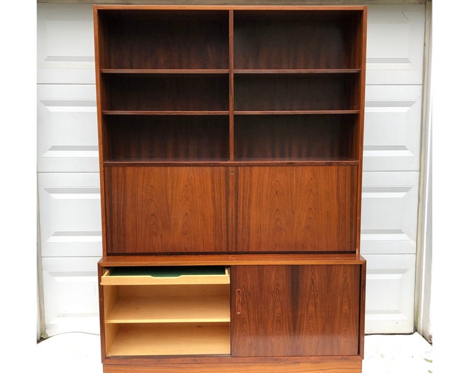 Mid-Century Modern Rosewood Bookcase With Dropfront Desk