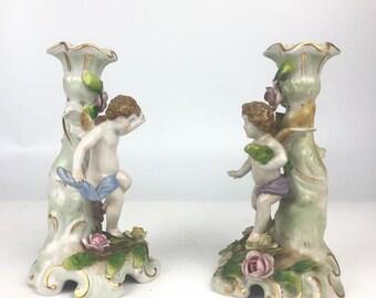 Pair Antique Porcelain Candleholders by Von Schierholz