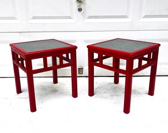 Pair Vintage Red Slate Top End Tables