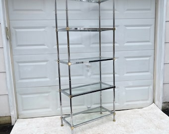 Vintage Modern Chrome and Brass Etagere