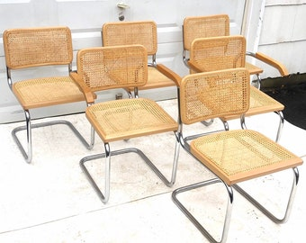 Vintage Modern Cesca Style Dining Chairs- Six
