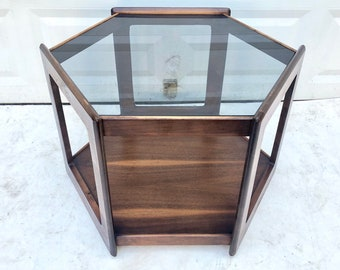 Mid-Century Glass Top Side Table