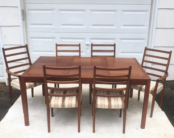 Mid-Century Rosewood Dining Set w/ Six Chairs