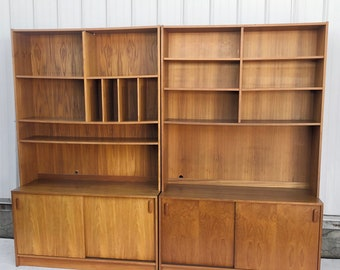 Scandinavian Modern Bookcase- a Pair
