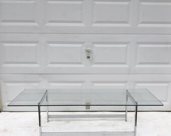 Mid-Century Modern Chrome and Glass Coffee Table