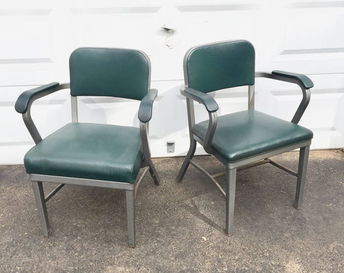 Vintage Industrial Metal Armchairs by Royal