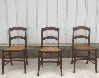 Vintage Farmhouse Style Cane Seat Chairs- 3