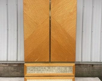 Vintage Modern Boho Bamboo Armoire or Dresser