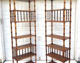 Pair Vintage Boho Bamboo Bookshelves