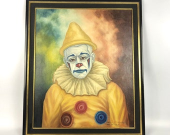 Mid-Century Modern Sad Clown Painting