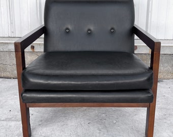 Mid-Century Modern Club Chair w/ Tufted Black Vinyl