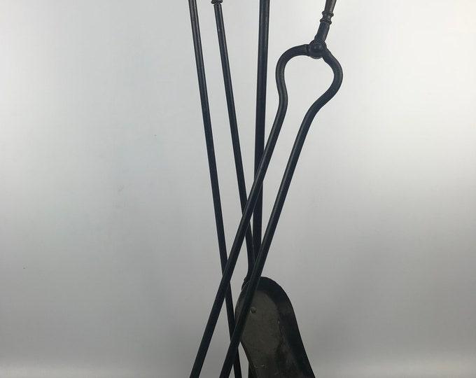 Vintage Black Iron Fireplace Tool Set Shovel, tongs, and poker