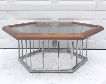 Mid-Century Modern Coffee Table in Chrome and Oak