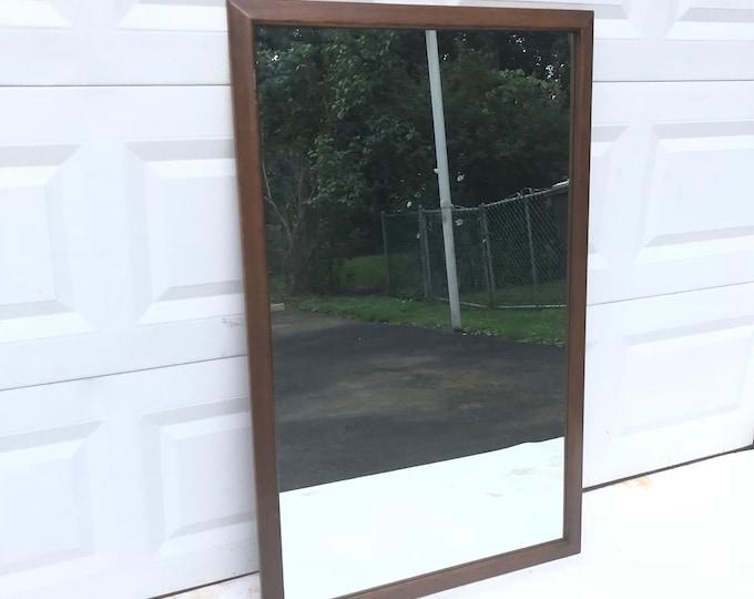 Basic Walnut Bedroom Mirror with Rails