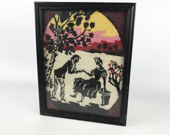 Vintage Needlepoint Art- Romantic Couple