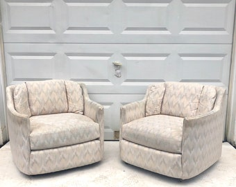 Pair Retro Modern Club Chairs on Casters