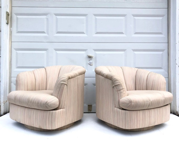 Pair Modern Swivel Club Chairs by Directional