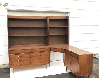 Mid-Century Modern Bedroom Set With Dresser, Corner Desk, and Bookcase