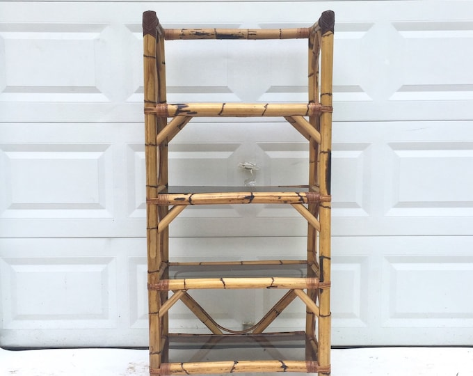 Featured listing image: Boho Modern Bamboo & Glass Bookcase