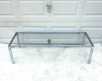 Stylish Mid-Century Chrome and Glass Coffee Table