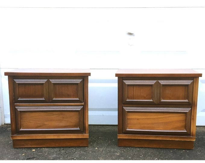 Pair Vintage Modern Walnut Nightstands